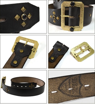 HTC BLACK BLK-H02 1.75inch BELT(HORWEEN CHROMEXCEL) BLACK/BRASS