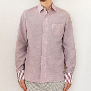 multiple core マルチプルコア border weave cloth mix pattern shirt umber rose1