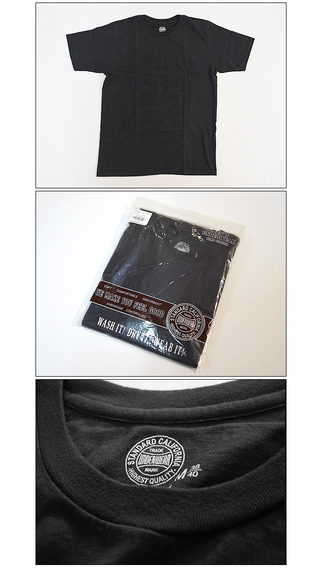 スタンダードカリフォルニア Standard California SD UNDERWEAR CREW NECK T BLACK