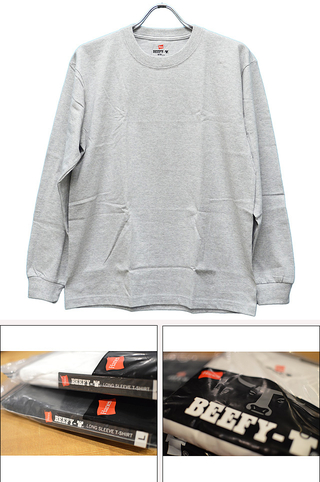 HANES ヘインズ BEEFY LONG SLEEVE T-SHIRT GRAY H5186-060