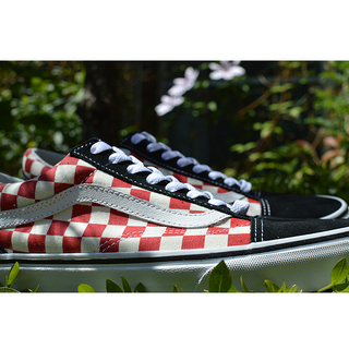VANS バンズ OLD SKOOL Lifestyle (Checkerboard)black/red VN0A38G135U